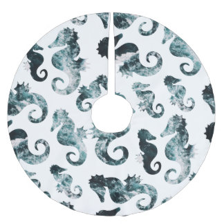 Abstract aqua seahorses pattern brushed polyester tree skirt