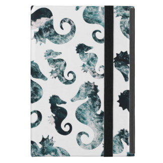 Abstract aqua seahorses pattern cover for iPad mini