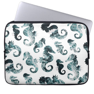 Abstract aqua seahorses pattern laptop sleeve