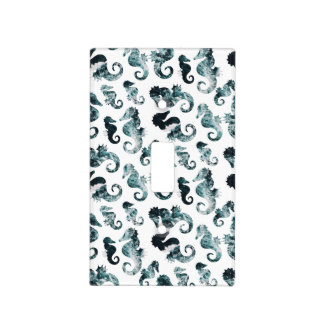 Abstract aqua seahorses pattern light switch cover