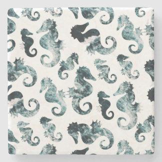Abstract aqua seahorses pattern stone coaster