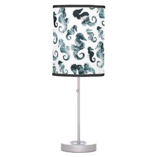 Abstract aqua seahorses pattern table lamp
