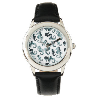 Abstract aqua seahorses pattern watch