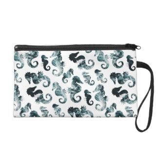 Abstract aqua seahorses pattern wristlet