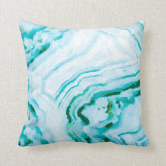 Abstract Aqua Teal Agate Design Painting Throw Pillow