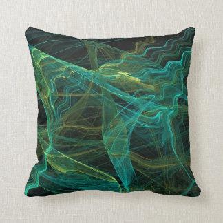 Abstract Aqua Teal Green Fractal Pillow