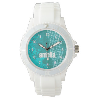Abstract aqua teal numbered name sports watch