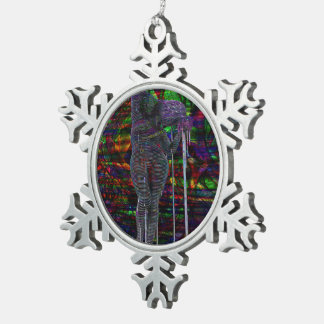 Abstract Aquarius Goddess Snowflake Pewter Christmas Ornament