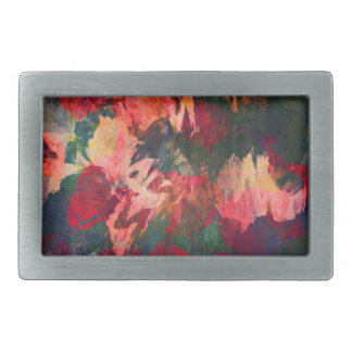 Abstract Art, Autumn Leaves, Red Green Gold Pink Belt Buckle