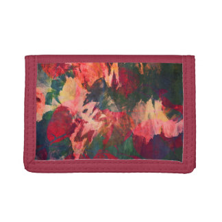 Abstract Art, Autumn Leaves, Red Green Gold Pink Tri-fold Wallets