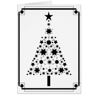 Abstract Art Black and White Christmas Tree Card