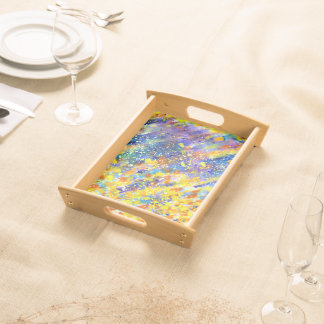 Abstract Art Blue Background Serving Tray