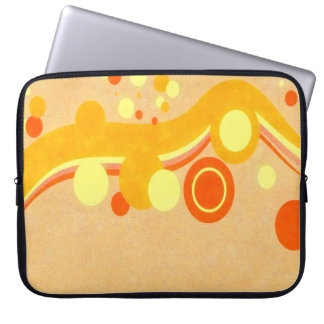 Abstract Art Brown Background Yellow And Orange Ci Computer Sleeves
