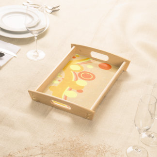 Abstract Art Brown Background Yellow And Orange Serving Tray