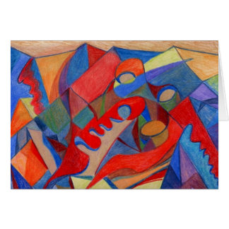 Abstract Art Card Original done in Colored Pencils