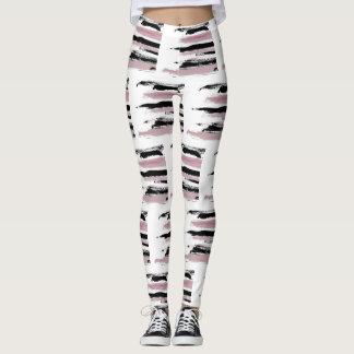 Abstract Art Cool Pink & Black Strokes Leggings