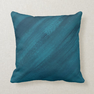 Abstract art dark teal green blue brushed throw pillow
