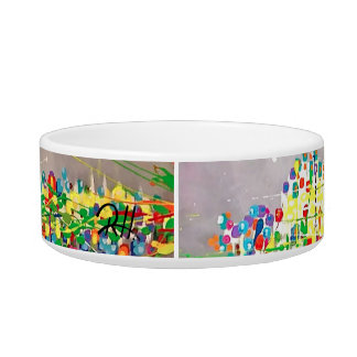 "Abstract Art Designer Pet Bowl ""Birthday"""