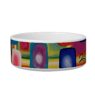 "Abstract Art Designer Pet Bowl ""Square Grid"""