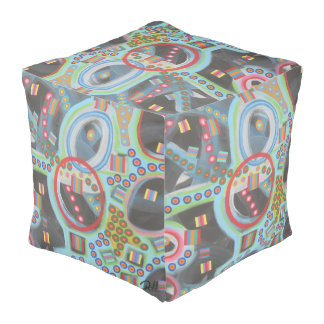 "Abstract Art Designer Pouf Pillow ""Blackhole"""