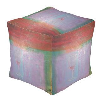 "Abstract Art Designer Pouf Pillow ""Wine Glass"""