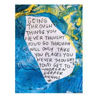 Abstract art encouragement postcard quote