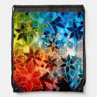 Abstract Art Flower Pattern 4 Drawstring Backpacks