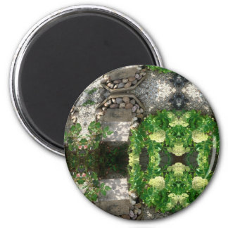 ABSTRACT ART FLOWERS 2 INCH ROUND MAGNET