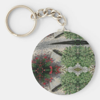 ABSTRACT ART FLOWERS BASIC ROUND BUTTON KEYCHAIN