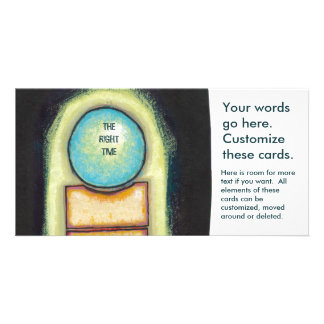 Abstract art fun blue circle painting your words personalized photo card