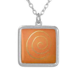 Abstract Art Gold And Orange Golden Spiral Swirl Silver Plated Necklace