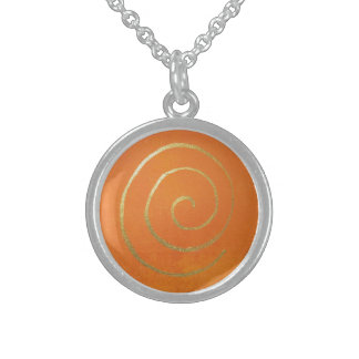 Abstract Art Gold And Orange Golden Spiral Swirl Sterling Silver Necklace