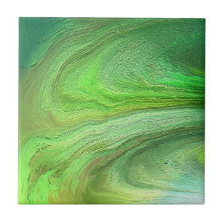 Abstract Art Green Metallic Paint Tile