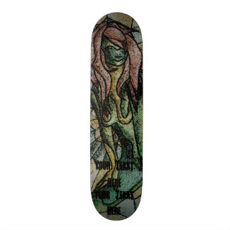 abstract art green posing lady retro  design skate board deck