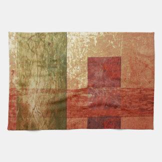 Abstract Art Grunge Geometric Red Orange Green Kitchen Towel