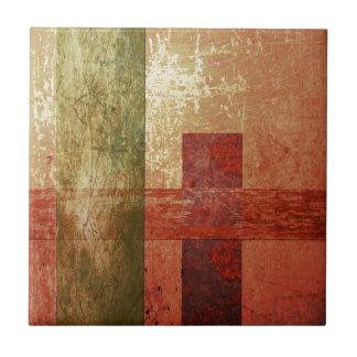 Abstract Art Grunge Geometric Red Orange Green Tile