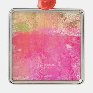 Abstract Art Grunge Watercolor Print Metal Ornament