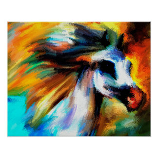 Abstract Art Horse Beautiful Gray White Equine Poster