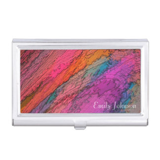 Abstract Art in Deep Colors Business Card Holder