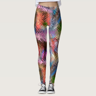Abstract Art Jewel-tone Strokes Contemporary Leggings