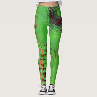 Abstract Art Leggings - Green, Gold, and Purple