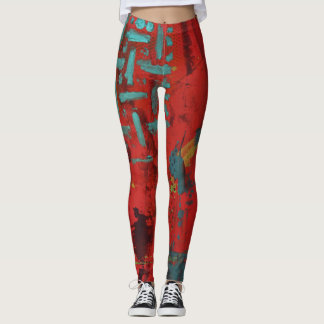 Abstract Art Leggings - Red, Teal, Yellow