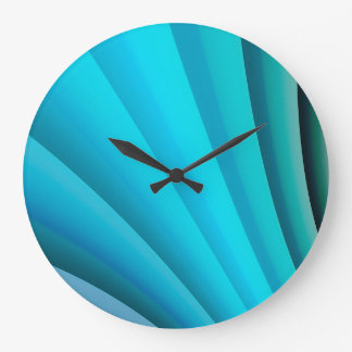 Abstract Art Light Blue Wave Large Clock