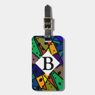 abstract art luggage tag colorful bright design