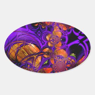Abstract Art Metal Purple Orange Crochet Zizzago Oval Sticker