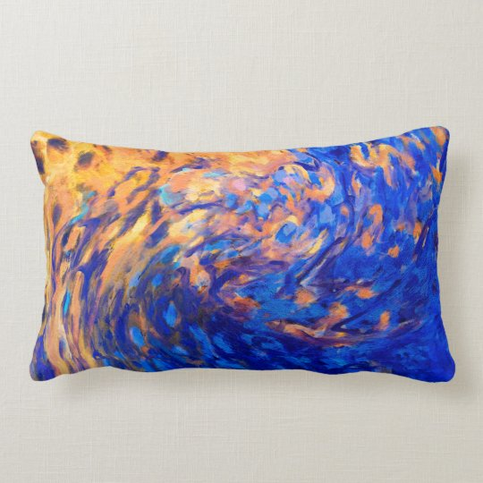 abstract art modern blue and yellow pillow