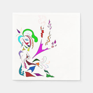 ABSTRACT ART MULTICOLORED LADY MUSE NAPKINS DISPOSABLE NAPKIN