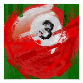 Abstract Art Number 3 Billiards Ball Poster