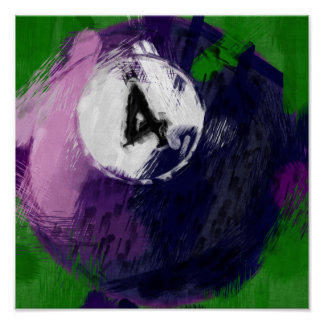 Abstract Art Number 4 Billiards Ball Poster