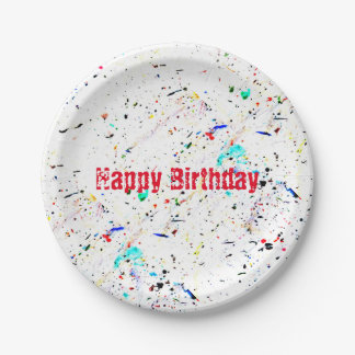 Abstract Art Paint Splashes and Spots Paper Plate